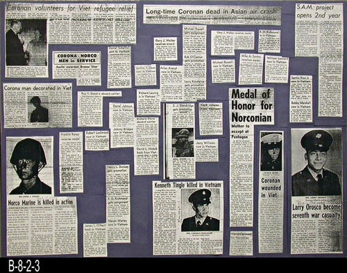 "This poster consists of photocopied newspaper articles of Corona-Norco residents who have died or wounded in the Vietnam War.  The poster is mounted on Foamcore- MEASUREMENTS:  18"" x 24""  - CONDITION: Very Good - COPIES: 1."