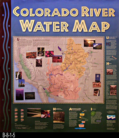 "This poster covers the importance, uses, and distribution of water from the Colorado River.  Specific topics are:  Uses--Farms, Cities, Power, Recreation, Flood Control and Fisheries - History - Indian Rights - Apportionment of 15 acre-feet of Colorado River water among the states - How much is an acre-foot.   Water Education Foundation is located at 717 K Street, Suite 517, Sacramento, Ca  95814  - MEASUREMENTS:  38"" x 32"". - CONDITION:  Very good. Small tear on bottom margin - COPIES: 1."