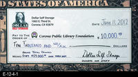 Poster - 2011 - Dollar Self Storge - Facsmilie check for ten thousand dollars...