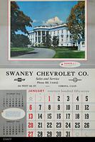 Poster - 1957 Calendar - Swaney Chevrolet Co. - Corona