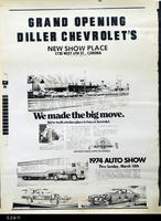 Poster - 1974 (Photographic Copy) - Announcement of the opening of Diller Chevrolet...