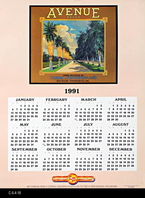 "This poster is a 1991 calendar on a peach background featuring a Avenue Brand fruit label picture.  The color separation work was done by  Inland Color Graphics of Corona, CA.  MEASUREMENTS:  24"" X 18"" - CONDITION:  Good - COPIES: 4."