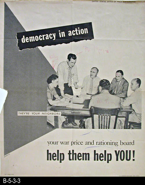 "The poster is one of the posters prepared by the U. S. Government during World War II.  This poster shows six individuals sitting at a table.  Text on the poster reads:  ""They're your neighbors.  ...your war price and rationing board  ...help them help you.""  Someone with a red pencil has added personal comments.  On the back on the poster someone has written in pencil:  The poster menace.  Just one example""  - MEASUREMENTS:  22 1/2"" x 18"" - CONDITION: Good. A small triangular shaped piece is missing on the left hand side.  On the lower portion of the back side the paper is yellowing.  Staple holes remain where three staples and been put in the poster. - COPIES:  1."
