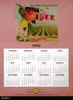 Poster - 1989 Calendar - Queen Colony Fruit Exchange Queen Bee Fruit Label Picture...