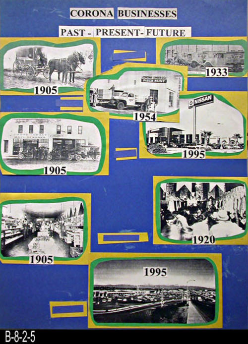 "This hand made poster consists of eight photocopied pictures of Corona businesses dating from 1905 thru 1995 - MEASUREMENTS:  28"" x 20 3/4""""  - CONDITION:  Good.  Dried glue is evident of some of the dark blue poster board- COPIES: 1."