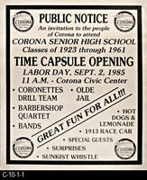 Poster - 1985 - Corona Senior High School - Time Capsule Opening