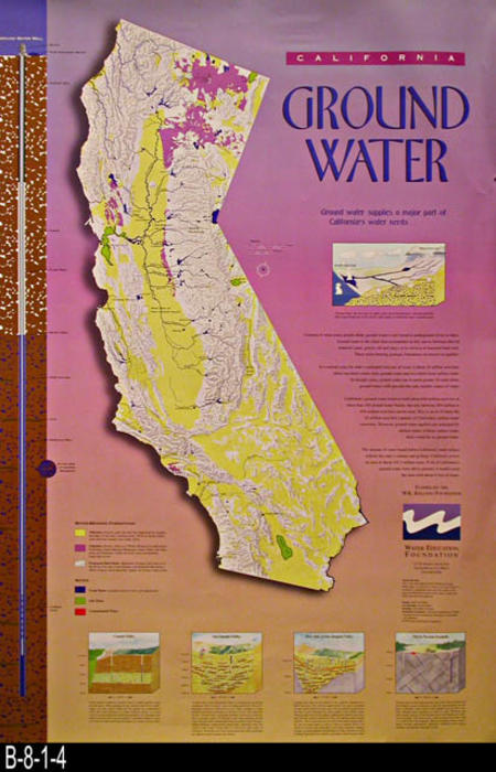 "This poster explains the importance of ground water to California.  Funding for this poster is by the W. K. Kellogg Foundation.  Water Education Foundation is located at 717 K Street, Suite 517, Sacramento, Ca  95814  - MEASUREMENTS:  36"" x 24"". - CONDITION:  Very good. Small tear on bottom margin - COPIES: 1."