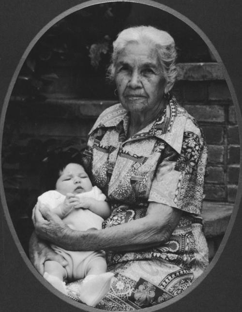Great Grandmother (?) Rangel and Liana Felipe (infant).  Approximately an 86 year age span.