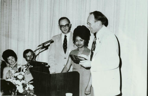 (left to right) Ola Talbert, Bob Talbert, James E. Jacobson, Sally Jacobson, Chief Joe Greer