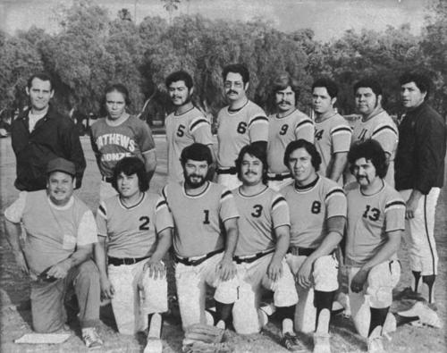 Baseball team.  Back row left to right: unknown; Martin Vivar; Nick Esparza; unknown (glasses); Paul Varela; unknown; Tony Esparza; Raymond Angulo.  Front row left to right: Ray Bega; Freddie Bega; Rey Aparicio; unknown Bega; Carlos Cruz; David Reveles.