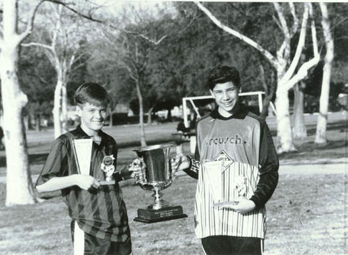 Timothy MacConnell with soccer trophy.