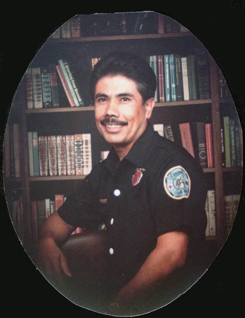 Portrait of Captain Richard Hernandez.  He was Corona's first Latino firefighter.