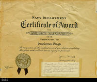 Document - 1943 - Navy Department - Certificate of Award