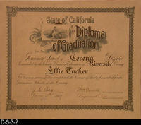 Document - 1907 - Diploma of Graduation - Effie Tucker