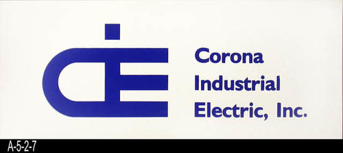 "This document is a business sign for Corona Industrial Electric. - MEASUREMENTS:  9"" x 22 1/8"" - CONDITION: Very good. - COPIES:  2."