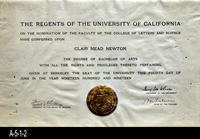 Diploma - 1919 - Bachelor of Arts Degree - Clair Mead Newton