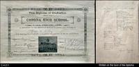 Diploma - 1897 -  Corona High School - Jessie N. Kelley