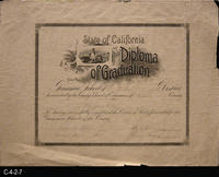 Diploma - 1893 - State of California - Diploma of Graduation - Grammar School...