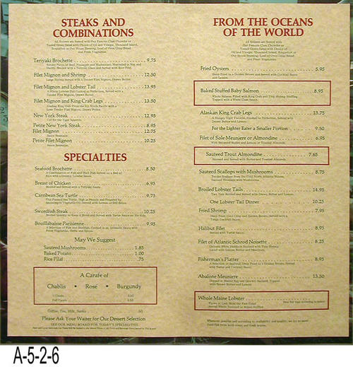 "This document is a  menu from the Hungry Tiger Restaurant.  The menu cover is identical to A-5-2-4.  The Hungry Tiger closed its doors in March 1986 and reopened as a Reuben's. The restaurant was located at Lincoln and the 91 Freeway.  The restaurant has continued to change hands and is in operation as of October 2008. - MEASUREMENTS: 19 1/8"" x 15"" - CONDITION: Very good. The menu cover is sealed in plastic. - COPIES:  1."