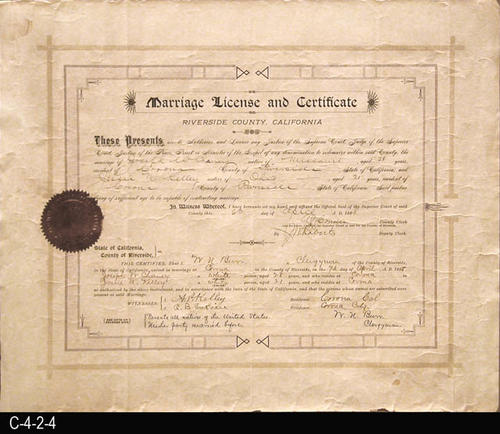 "This document is the Marriage License and Certificate for the marriage of Joseph W. Chaney to Jessie N. Kelley.  It was issued on April 4, 1898, and the marriage was on April 7, 1898.  The back of this certificate has the filing information and this certificate was received for filing on May 4, 1898, and duly filed on May 5, 1898.  MEASUREMENTS:  14"" X 17"" - CONDITION:  There is a circular brown stain in the upper left hand corner and two small circular stains in the bottom margin near the right edge.  The gold seal is beginning to deteriorate.  Water staining on right margin area and the bottom edge has several small pieces missing.  Corners are dog-eared.  This document is kept in a Mylar sleeve. - COPIES:  1."