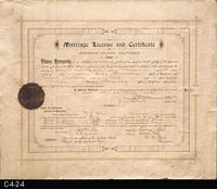 Document - 1898 - Marriage License and Certificate - Joseph W. Chaney to Jessie...