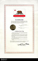 Certification - 1971 - Certification for a Flag Flown Over the State Capitol...