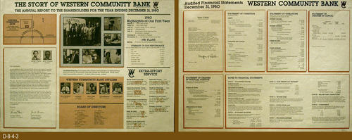 "This is a two-sided promotional document for the Western Commnity Bank.  On one side are the 1980 highlights of the bank's first year.  On the other side is an audited financial statement dated December 31, 1980.  MEASUREMENTS:  17 1/2"" X 23"" - CONDITON:  Excellent - COPIES:  1."