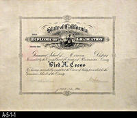 Diploma - 1914 - Grammar School of Corona District - Bird A. Cross