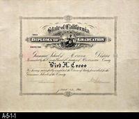 Diploma - 1914 - Grammar School of Corona District - Bird A. Cross