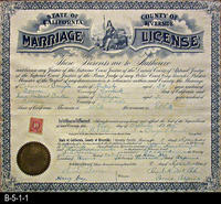 Document - 1915 - Marriage License - State of California - County of Riverside...