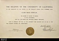 Diploma - 1927 - Master of Science Degree - Clair Mead Newton
