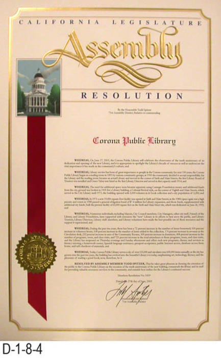 "This is member resolution 1819 recognizing the 10th Aniversary of the dedication of the new Corona library.  MEASUREMENTS:  17"" X 11"" - CONDITION:  Excellent - COPIES:  1."