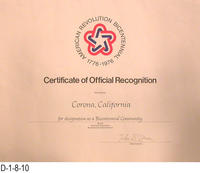 Certificate of Recognition - American  Revolution Bicentennial 1776-1976