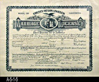 Document - 1908 - Marriage License - State of California - County of Los Angeles...