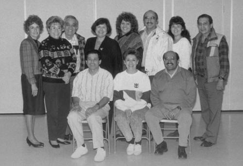 The 1991-1992 Cinco de Mayo Committee.  Standing (left to right): Rachel Hernandez; Virginia Alaniz; Louie Alaniz; Celia ?; Marylou Vasquez; Al Varela; Margo Rivera; Joe Varela.  Sitting (first row, left to right):  Joe Contreras; Lucy Hampton; Rudy Felipe.