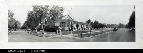 "This B/W photograph is a picture of  the school.  This photo shows the intersection of 9th and Victoria Avenue - MEASUREMENTS:  8"" X 23"" - CONDITION:  Copy1 - Good. This picture is kept in a protectice sleeve.   Copy 2:  SCH-Lin 102b is in good condition.   - COPIES:  2"