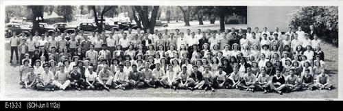 "This BW photograph is of the Graduating Class of S 1946. -  MEASUREMENTS:  8"" x 27"" CONDITION:  Good - This photograph is kept in a protective sleeve. - COPIES:  1."