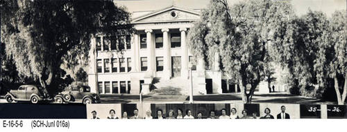 "This is a BW photograph of the Corona Junior High School used from 1923 to 1937.  It has been cut from a larger photo.  MEASUREMENTS: Irregular: 4 1/2"" x 12 3/4"" - CONDITION:  Good. - COPIES:  1."