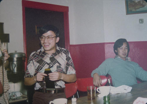 Tony Woo, Harry Chan, and others in the Hong Kong Restaurant.