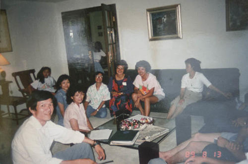 The Wong family inside their house.