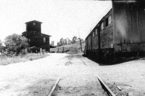 El Cerrito Ranch Packing House with Santa Fe spur line.  By products building on left.