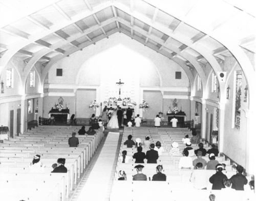 Varela-Juarez wedding. The interior of St. Edwards Church.