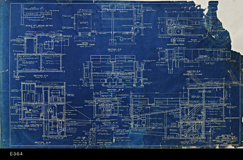 "This blueprint shows the Sections for  the Control Building and Dosing Tanks. -  MEASUREMENTS:  22"" x 36"" - CONDITION:  The contrast on the blueprint is excellent; however, the edges are frayed, a large section of the upper right hand corner is missing and the plan has three visible taped areas on the right. - COPIES:  1."