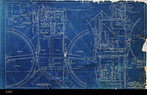 "This blueprint shows the Plan for the Sludge Pump Room, the Pump and Lower Dosing Tank, and the Plan for the Dosing Tank Chlorinator Room, Etc.  -  MEASUREMENTS:  22"" x 36"" - CONDITION:  The contrast on the blueprint is excellent; however, the edges are frayed and the plan has five visible taped areas on the right. - COPIES:  1."