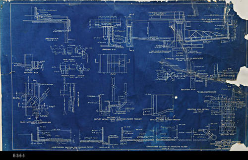 "This blueprint shows the Sections for  the Filter and Clarifiers -  MEASUREMENTS:  22"" x 36"" - CONDITION:  The contrast on the blueprint is excellent; however, the edges are frayed, there are three small sections of the blueprint missing on the right:  top right corner,  middle, and a small piece of the lower right hand corner.  Four visible taped areas can be seen on the map. - COPIES:  1."