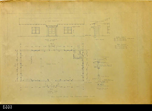 "This is the drawing in blueprint form for the Boy Scout Building for the Corona Lions Club.  This blueprint shows the:  Floor Plan, Front Elevation, Cross Section and Section A-A.  This is identical to E-2-2-1. - MEASUREMENTS:  20"" X 28 7/8"" - CONDITION:  This blueprint is in good condition.  Some of the corners and edges show usage. - COPIES:  1."