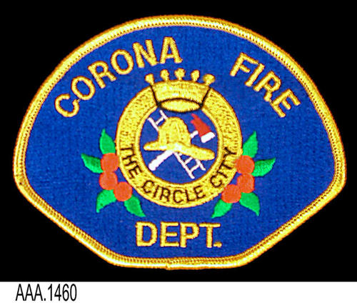 This artifact is a Corona Fire Department uniform arm patch.  CONDITION:  Excellent.
