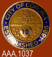 City of Corona 10 Year Pin - Metal