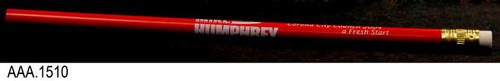 "This artifact is a red lead pencil measuring 7 1/4"" in length and 5/16"" in diameter.  This is a standard lead pencil with a white rubber eraser on one end.  The white text on the pencil reads:  Mike Humphrey - Corona City Council 2004 - a Fresh Start.  The name Mike is set in a font with stars and there are wavy lines simulating the stripes in the flag."