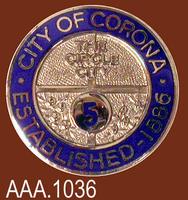City of Corona 5 Year Pin - Metal